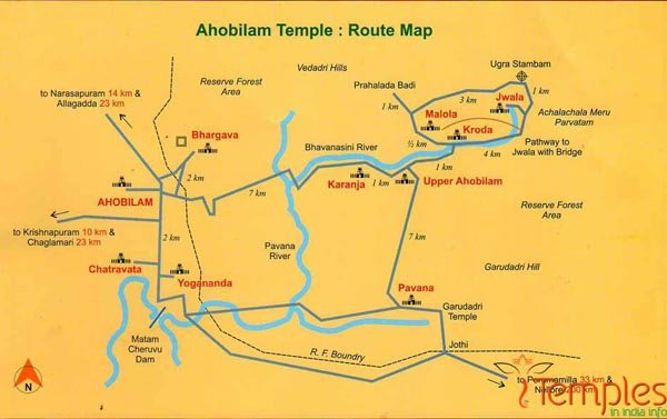 Ahobilam Temples Route Map
