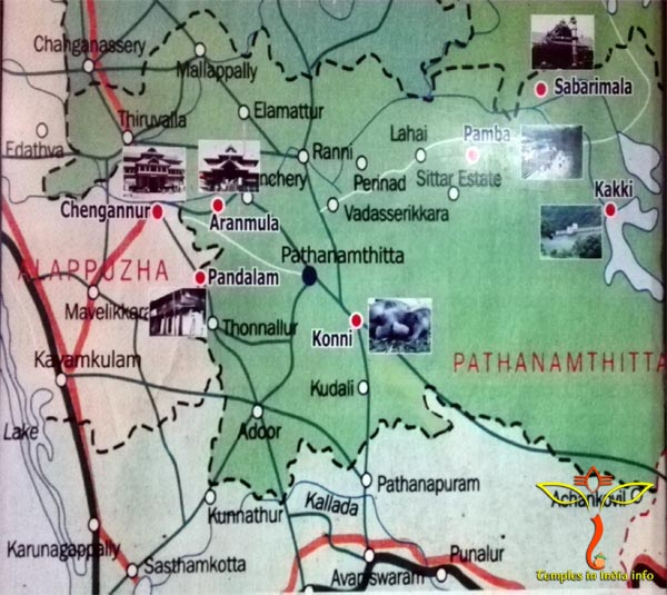 Chengannur temples Rout Map