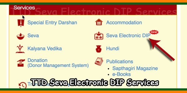 TTD Seva Electronic DIP Services