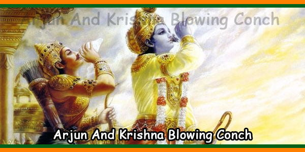 Arjun And Krishna Blowing Conch