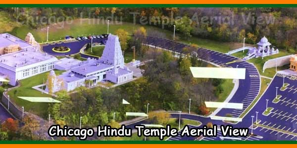 Chicago Hindu Temple Aerial View